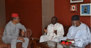 From left: Commodore Ebitu Ukiwe (rtd), Bishop Matthew Kukah and Gen. Abdulsalam Abubakar (rtd) in conversation